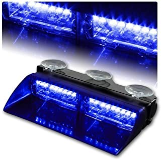 DIYAH 16 LED High Intensity LED Law Enforcement Emergency Hazard Warning Strobe Lights For Interior Roof Dash Windshield With Suction Cups (Blue)