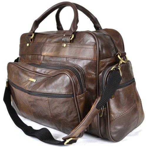 Stadlbauer große Reisetasche Leder mit abnehmbarem Schulterriemen (Dunkelbraun)