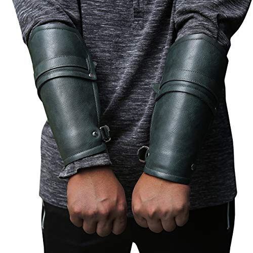 Syktkmx Faux Leather Gauntlet Wristband Bracer Arm Armor Cuff Punk Gothic Medieval Costume Vambraces - http://coolthings.us