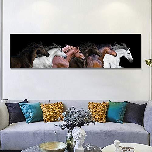 KWzEQ Grandes Carteles Modernos de Animales e imágenes de Seis Caballos en Lienzo para Grabado, decoración de la Sala de Estar,Pintura sin Marco,60x240cm