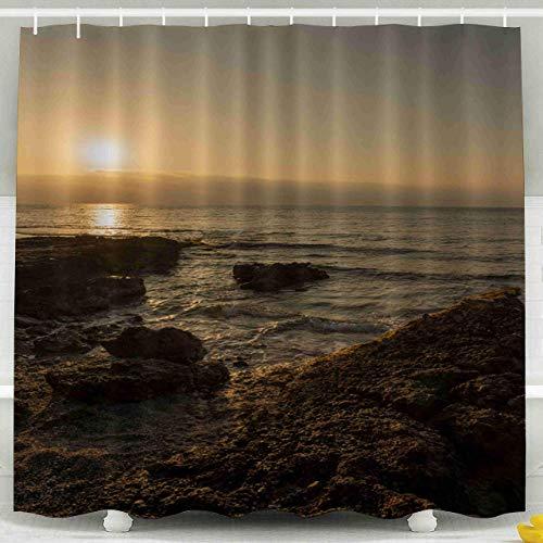 Cortina de Ducha, Cortina de Ducha Transparente, Sunrise by The Sea España Oropesa Castellon Juego de baño de decoración Impermeable con Ganchos