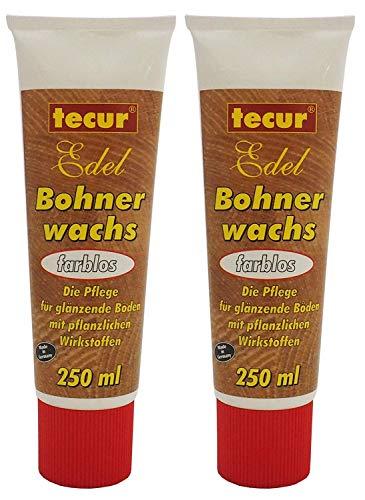 2x 250ml Edel Bohnerwachs farblos von tecur, Bodenwachs, Holzbodenpflege zum Bohnern von Holzböden, Parkett und Laminat