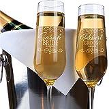 P Lab - Juego de 2 copas de champán personalizadas, copas para tostadas de boda, copas para tostadas de boda, copas para tostar, copas grabadas para novia y novio, regalo de boda personalizado #N6
