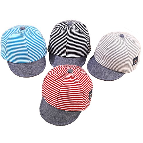 Baby Boy Baseball Cap Striped Sunhat Letter Sun Protection Hat (4pcs-Blue/Gray/Black/red)