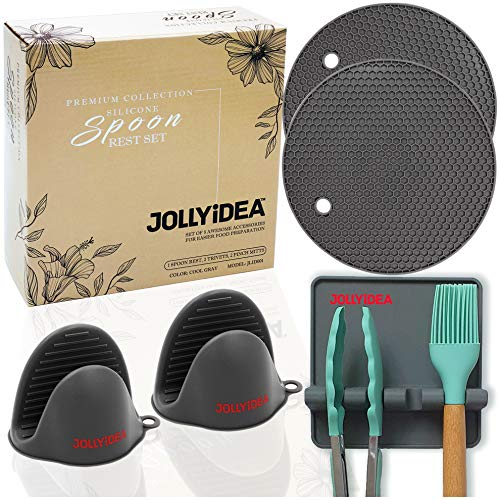 Jollyidea Silicone Spoon Rest Set - 5 Kitchen Stove Countertop Cooking Gadgets Easy to Clean Heat Resistant Hot Pad 1 Utensil Drip Tray for Spatula Ladle Etc 2 Pot Holder Trivet Mat 2 Pinch Mitts Grey