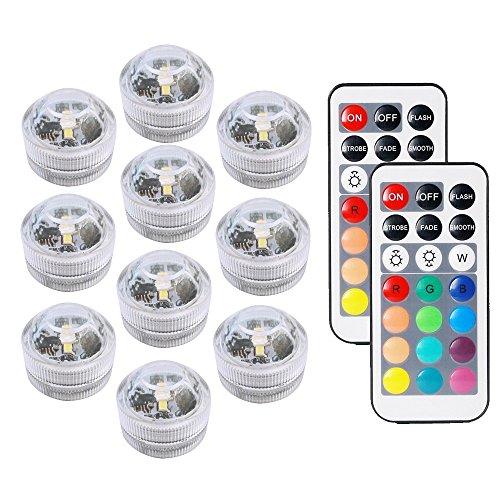 COOLEAD 10Pcs RGB LED Luz Sumergible Control Remoto Bajo el Agua Lámpara Subacuática de baño Impermeable Color Cambio Luces Acuario para Vaso Jarrón Estanque Piscina Boda Navidad Fiesta Decoración