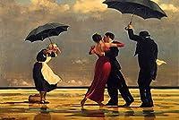 QMGLBG 5Dダイヤモンド塗装風と雨の風景ダイヤモンド絵画手工芸品大人のギフト壁の装飾で踊る人々30*40cm