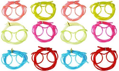 COM-FOUR® 12 glazen rietje in diverse felle kleuren, rietje in glazen uitvoering (Kleurrijke bril - 12 stuks)