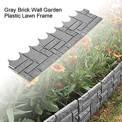 Tookie 6/12Pcs Grey Cobbled Stone Effect Garden Lawn Edging Plant Border - Easy Plug-in Fence Garden Border Edging - for Flower Beds, Lawns and Paths - Weatherproof Impregnated