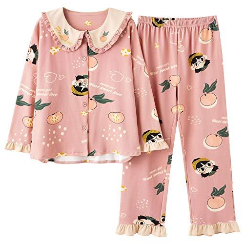 LEYUANA Ropa de hogar del Jersey, Pijamas Sueltos del tamaño Extra Grande del algodón de Punto XXXL NSN5004