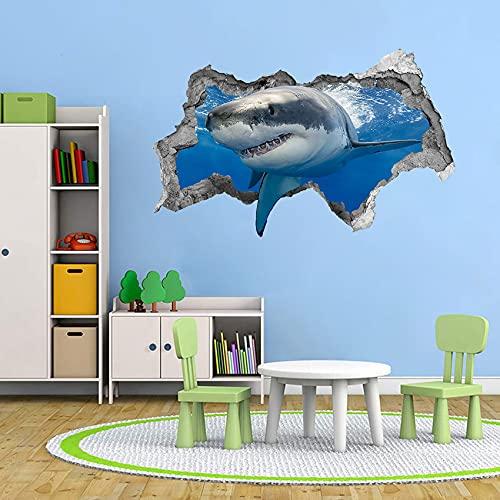 TOARTI Adhesivo de pared 3D con diseño de tiburón para habitación infantil, diseño de animales marinos en 3D, para baño, decoración de pared con animales y peces