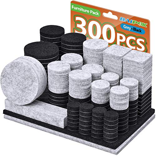 Almohadillas de fieltro para muebles, 300 unidades, dos colores (negro 130 + gris 110), varios tamaños autoadhesivos almohadillas de fieltro para muebles, protectores de suelo...