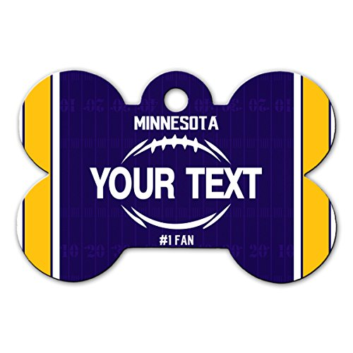 BleuReign(TM Personalized Custom Name Football Minnesota License Plate Bone Shaped Metal Pet ID Tag with Contact Information