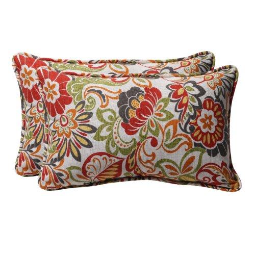 Pillow Perfect Outdoor/Indoor Zoe Citrus Lumbar Pillows, 11.5' x 18.5', Green, 2 Pack