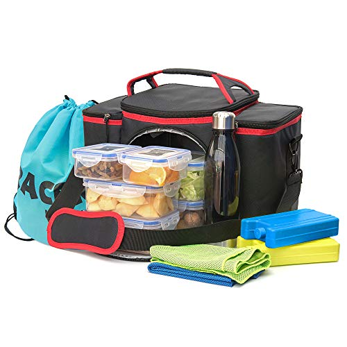 TRACERY Multifuction Gym Bag Combo with Ice Block, Food Container, Sports Towels, Bottle, Drawstring Bag (Red)