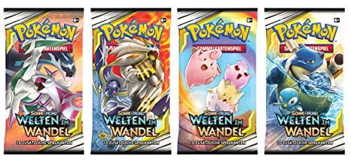 Unbekannt Pokemon SM12 - Welten im Wandel - 4 Booster - Alle 4 Verschiedene Artworks - Deutsch