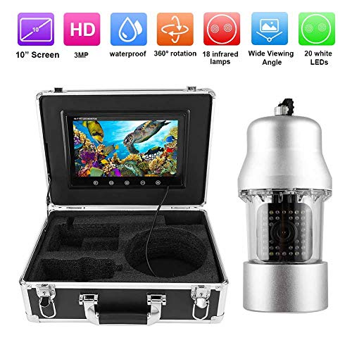 Fishfinder camera, 10 inch kleurenmonitor 3MP, HD onderwatercamera IP68 Waterdichte nachtzicht fishfinder voor vissen / zeevissen / zwemmen / duiken. (EU)