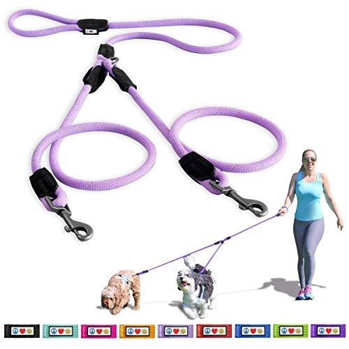 Pawtitas Dubbele riem voor twee honden geweldig voor wandelen & trainen | Rreflecterende schokabsorberende hondenriemen voor 2 honden 1,8 m, middelgroot/groot - Lichtpaarse hondenriemen