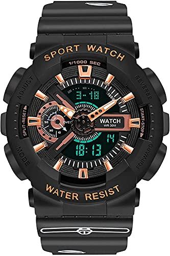 QHG Relojes Digitales para Hombres Reloj a Prueba de Golpes a Prueba de choques Jingle Cat Watch Design Luminous Electronic Deportes Wristwatches para Hombre (Color : Black)