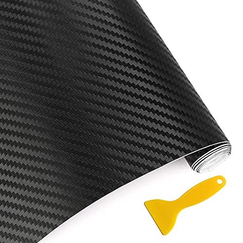 HQCM 6D Auto Folie, Selbstklebend Autofolie aus Vinyl 300 * 30cm Wasserdichter Flexibel Carbon Folie Schwarz mit Kunststoffschabern