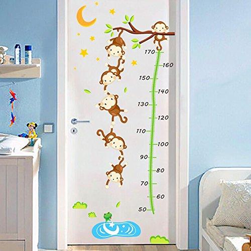 ZRDMN Etiqueta de la Pared Monkey Height Measure La Altura de la Puerta de su bebé, Fancy Monkeys Fishing 1998, Large Can Remove para el Dormitorio Sala de Estar Oficina Baño Familiar Cocina