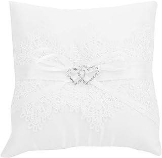 Anello Cushion Hollow Satin Lace Perla Double Heart Wedding Ring Cuscino Avorio Cuscino Bearer per Beach Wedding Party Cer...