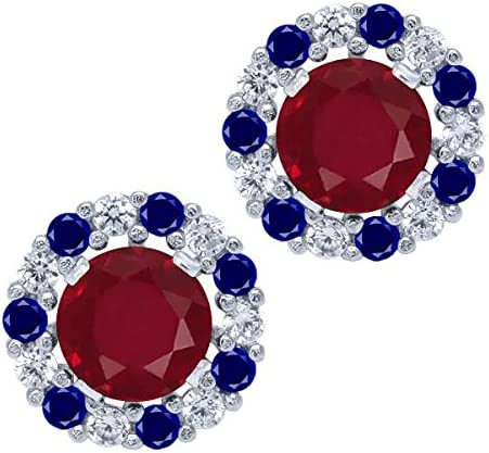 Gem Stone King 1.48 Ct Round Red Silver 925 Ruby NEW before selling E Sterling Seattle Mall Stud