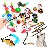 BUYGOO 31PCS Juguetes Interactivos para Gatos, Varita de Plumas, Pez Ratón y Bolas de Gato