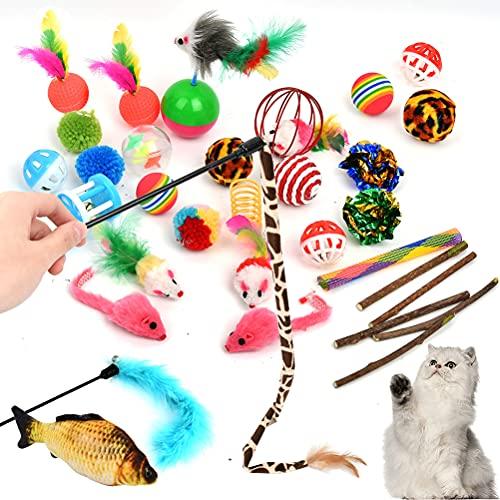 Giocattoli per Gatti 29PCS, Giochi per Gatto Giocattoli Interattivi, Giochi Gatto Casa, Interattivi Giochi Gatto Giochi Gattini, Mouse, Palle, Pesci BUYGOO, Bacchetta piumata, Campana, Catnip, ecc.