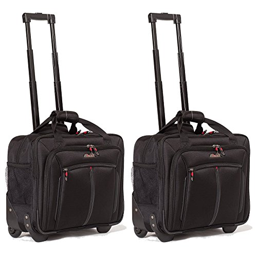 "Aerolite 17"" Executive Cabin Luggage Business Bag Laptop Bag with Wheels – Approved for Ryanair, Easyjet, BA & Jet2, Black (Black x2)"
