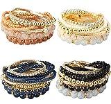 Milacolato 2-4 Sets Stackable Bracelets for Women Multilayer Beaded Bracelets Stretch Bangles...