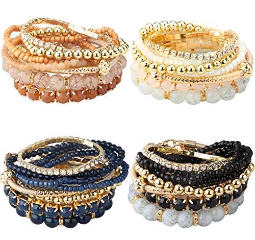 Milacolato 2-4 Sets Stackable Bracelets for Women Multilayer Beaded Bracelets Stretch Bangles Bohemian Style (4 set bracelets)