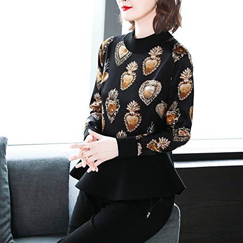 BINGQZ Cocktailjurken Zijde blouse vrouwelijke lente stiksels gebreide printen liefde ronde hals bottoming zijden shirt met lange mouwen