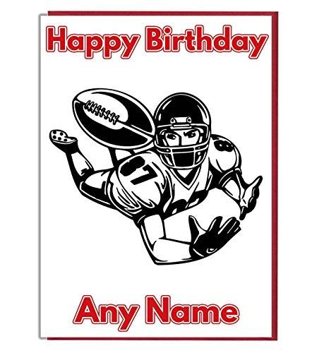 AK Giftshop Geburtstagskarte, Motiv: American Football, personalisierbar [Service evtl. nicht in Deutschland verfügbar]