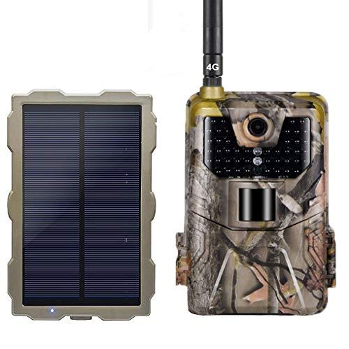 YTLJJ 4G Fotocamera da Caccia 1080P 16MP Fototrappola Infrarossi Invisibili Fotografica 4G gsm MMS, 940nm IR LEDs Visione Notturna 65ft 20m, Schermo da 2,0 Pollici, con Set di Pannelli Solari