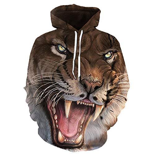 Zaima 3D Animal Print Hoodie Hombres Sudadera Chaqueta Pullover Tiger Street Abrigos SuéTer Estampado De...