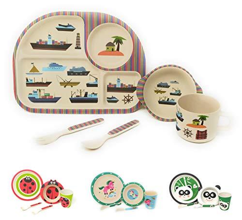 Vajilla infantil para niños entre 2 y 8 años apto para el Lavavajillas sin BPA 100% Eco-Friendly Set de 5 Piezas (Barco)