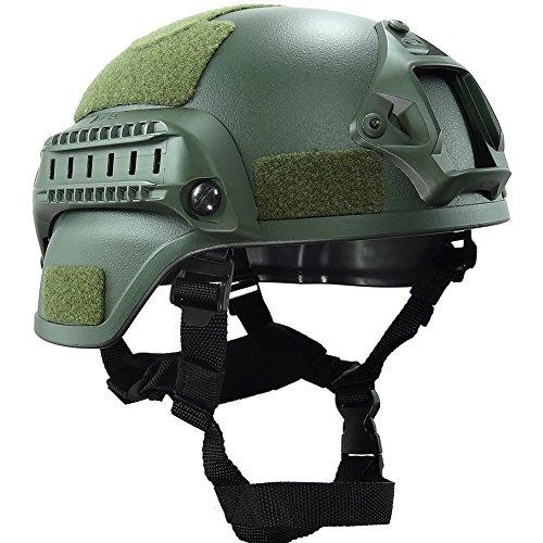 OneTigris Mich 2000 Aktion Version Taktische Helm ABS Helm mit NVG Halterung und seitliche Schienen (Armee Grün)