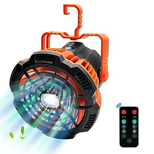 Idefair Ventilador de Camping portátil con luz LED, Ventiladores de Carpa Recargables Ventiladores de Techo Potente Ventilador de Escritorio USB Control Remoto para Viajes de Acampada al Aire Libre