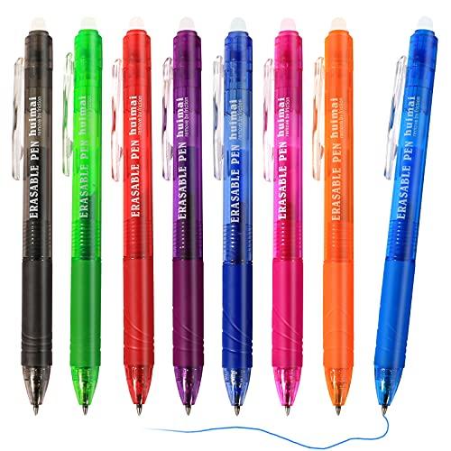 Olkoy Boligrafos Borrables Retráctiles - 8 Piezas 0.5mm Bolis Borrables de Colores, Mucha Tinta, para Escuela, Oficina
