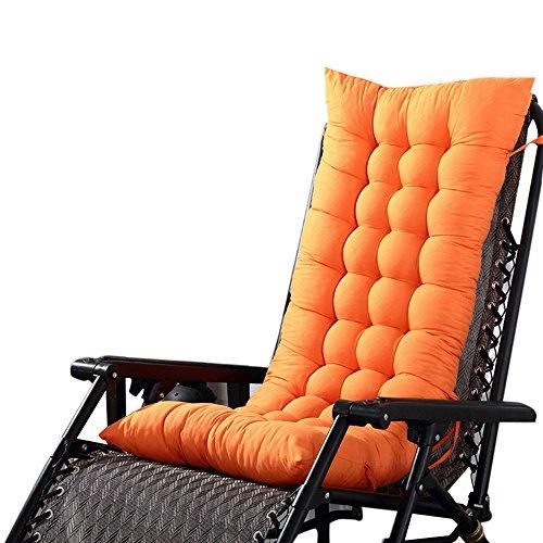 Souarts Stuhlauflage Hochlehner Auflage mit Dicker Comfort Polsterung geeignet für Gartenstuhl Klappsessel Liegestuhl 110x40x8cm (Orange)