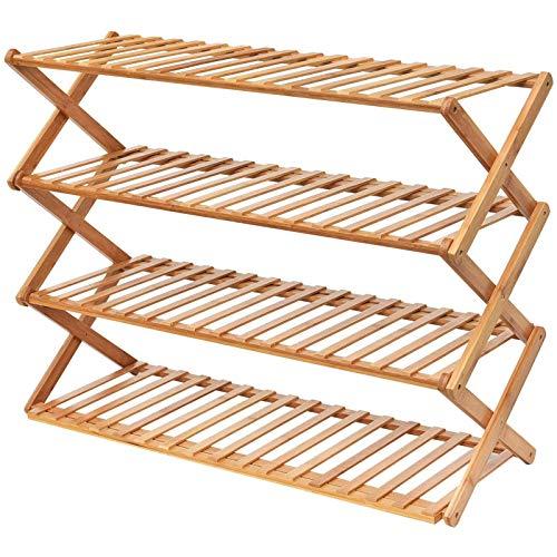 Aiiwqk Zapatero de bambú de 4 Capas, Zapatero Plegable, gabinete de Almacenamiento de exhibición de fábrica, instalación Gratuita de 80 cm