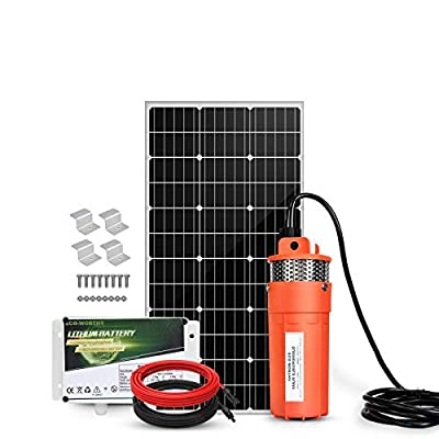 ECO-WORTHY 12V DC Large Flow Solar Water Pump Max Flow 420 GPH Low Noise Submersible Pump with 10FT Extension Cable for Irrigation, Deep Well, Breeding