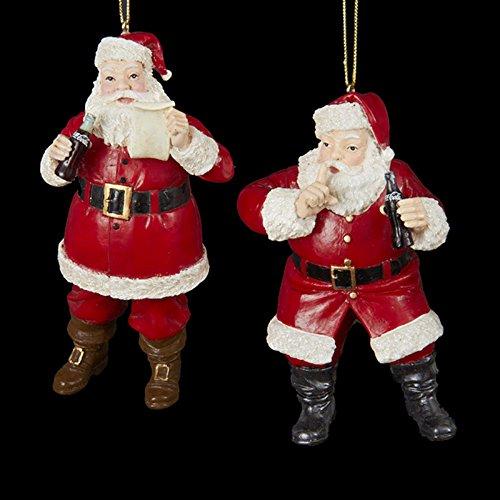 Kurt Adler Coca-Cola resina Santa ornamento coppia # CC2157