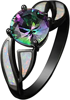 HYLJZ Anello Black Gold Color Fire Opal with Rainbow Cz Ring Colorful Crystal Ring for Women Love Wedding Ring for Girls