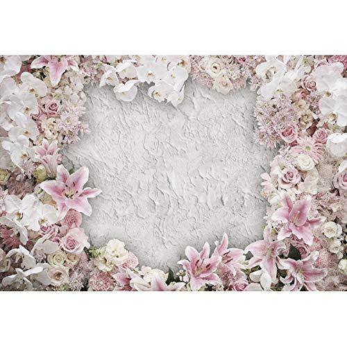 Leowefowa 2,2x1,5m Vinilo Primavera Telon de Fondo Rosado Floración Papel Pintado de Flores Vendimia Retro Pared Blanca Fondos para Fotografia Party Photo Studio Props Photo Booth
