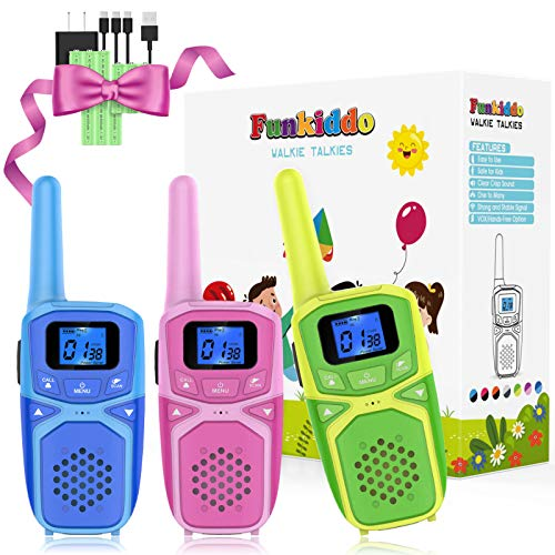 Walkie Talkies for Kids Adults Family Rechargeable Long Range Portable Two Way Radio Kid Toys, Outdoor Camping Hiking Family Activities Toys Birthday Party Xmas Gifts for Girls Boys