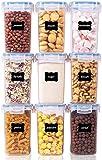 Vtopmart 1.6L Recipientes para Cereales Almacenamiento de Alimentos, Jarras de Almacenamiento de Plástico con Tapa Hermética Sin BPA,Juego de 9 + 24 Etiquetas, para harina,café (Azul)