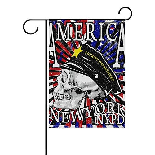 coosun crâne Moto Poster Polyester Drapeau Jardin dans le jardin libre drapeau Home Party Décor, double face, 12 x 18
