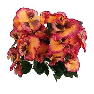 "Silk Flower Arrangements Mynse 2 Pieces 14.1"" Silk Pansy Artificial Pansy Flowers for Home Indoor Garden Decoration"